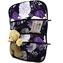 Multi - Pocket Car Back Seat Organizer Cover Protector Travel Storage FLOWERS PURPLE WHITE [030]