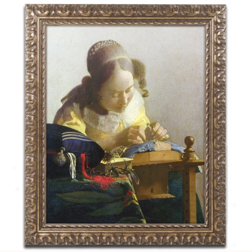 The Lacemaker 1669-70 Canvas Artwork by Jan Vermeer, 11 by 14-Inch, Gold Ornate Frame