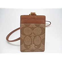 coach in usa factory outlet cp9o  Coach Signature C PVC Canvas Leather Khaki Saddle Lanyard, Badge ID Credit  Card Holder 63274