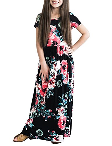 PARTY LADY Girl Dresses Floral Print Crew Neck Short Sleeve Empire Waist Maxi Dress Size XS Black (Black Empire Short In Sleeve Dress)