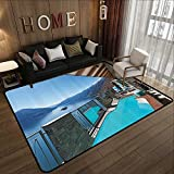 Small Rugs,House Decor Collection,Terrace with Pool and Lake View Luxury House Balcony Leisure Dream Vacation Image Pattern,Blue Aq 78.7'x 118' Thin Non-Slip Kitchen Bathroom Carpet