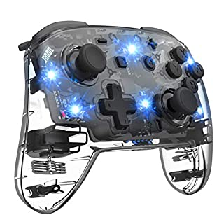 Wireless Switch Controller for Nintendo Switch, Remote Pro Controller for Switch, Adjustable Turbo Vibration Motion Gyro Ergonomic, Transparent