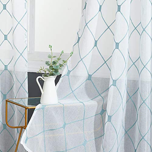 Top Finel White Sheer Curtains 96 Inches Long Teal Embroidered Diamond Grommet Window Curtains for Living Room Bedroom, 2 Panels (Teal Grommet Curtains)