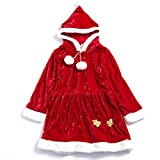 IKALI Girls Xmas Claus Santa Costume Suit,Red Winter Velet Christmas Dress & Coat Cape For Holiday Pageant Party