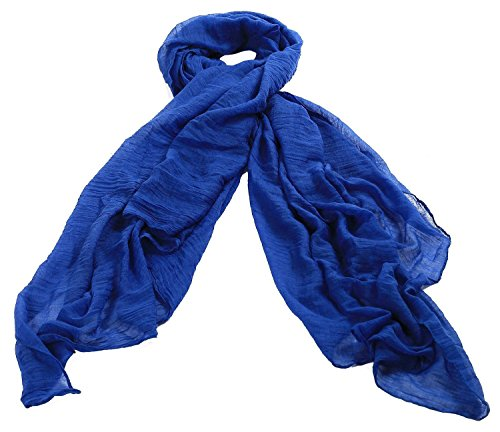 Solid color Fashion Scarf Chiffon Long Hijabs (Blue) - 4
