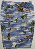 Boy's Shorts - Polynesian Island Elastic Waistband Inside Drawcord Cotton Flap Pocket Shorts in Blue - 14