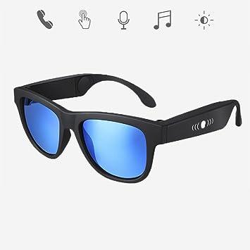 GWJ Bone Conduction Auricular Bluetooth Gafas, Auriculares Deportivos Gafas de Sol Polarizadas Música Estéreo Auriculares