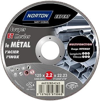 Norton Tron/çonnage /à moyeu d/éporte technique score m/étal 125 x 3,2 x 22,2 mm