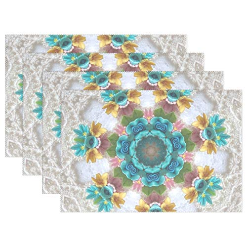 YPink Floral Patterns Crochet Blue Flowers 13957 Placemats Set of 4 Heat Insulation Stain Resistant for Dining Table Durable Non-Slip Kitchen Table Place Mats