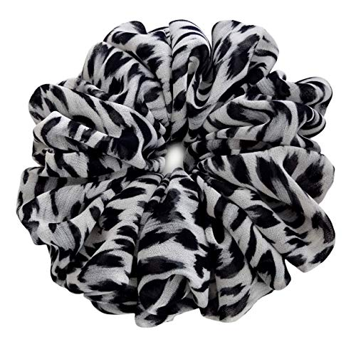 (Grey Leopard Scrunchies for Hair Large Chiffon Fancy Accessories Elastic Hair Ties Teen Girls Women)