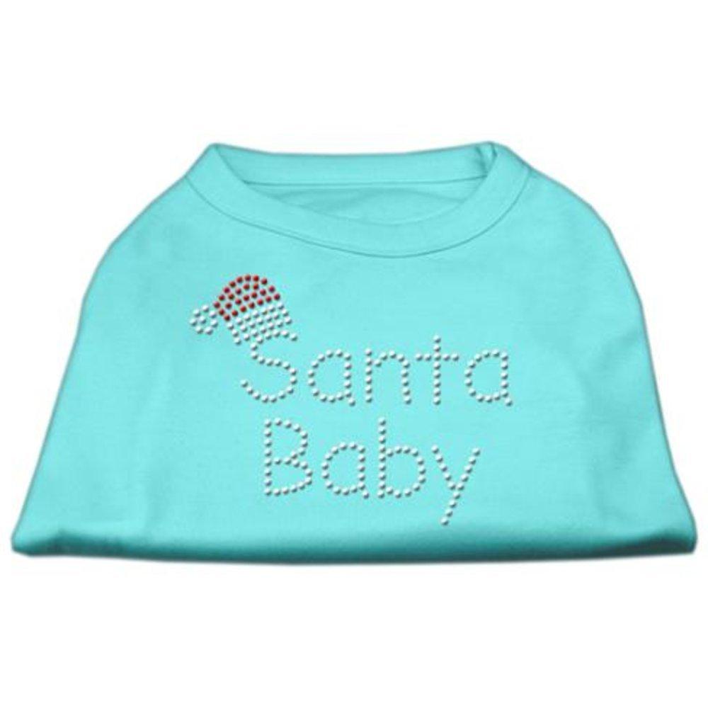 Mirage Pet Products 16-Inch Santa Baby Rhinestone Print Shirt for Pets, X-Large, Aqua