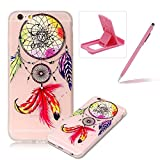 Clear Case for iPhone 6S Plus,Soft TPU Cover for iPhone 6 Plus,Herzzer Ultra Slim Pretty [Dreamcatcher Feather Pattern] Silicone Gel Bumper Flexible Crystal Transparent Skin Protective Case + 1 x Free Pink Cellphone Kickstand + 1 x Free Pink Stylus Pen
