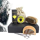Beard Kit, Men Grooming and Trimming Beard Care Kit Gift Set: 30g Organic Beard Balm + 30ml Organic Beard Oil + Beard Brush + Beard Comb + Stainless Steel Scissor
