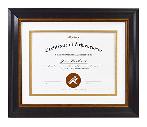 Golden State Art, 8x10 Frame for 6x8 Diploma/Certificate, Black Gold & Burgundy Color. Includes White Over Gold Double Mat, Real Glass & Table-top Display
