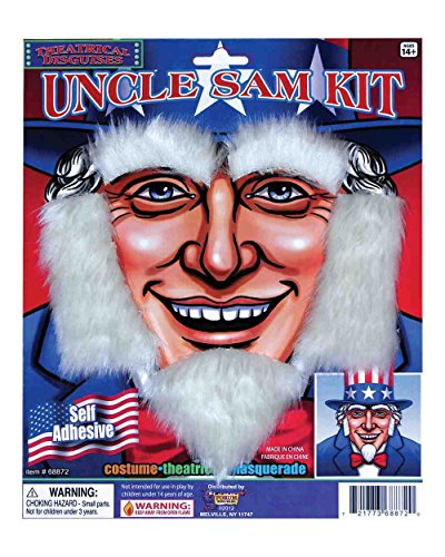 Forum Uncle Sam Patriotic July 4th Costume White Beard Facial Hair ()