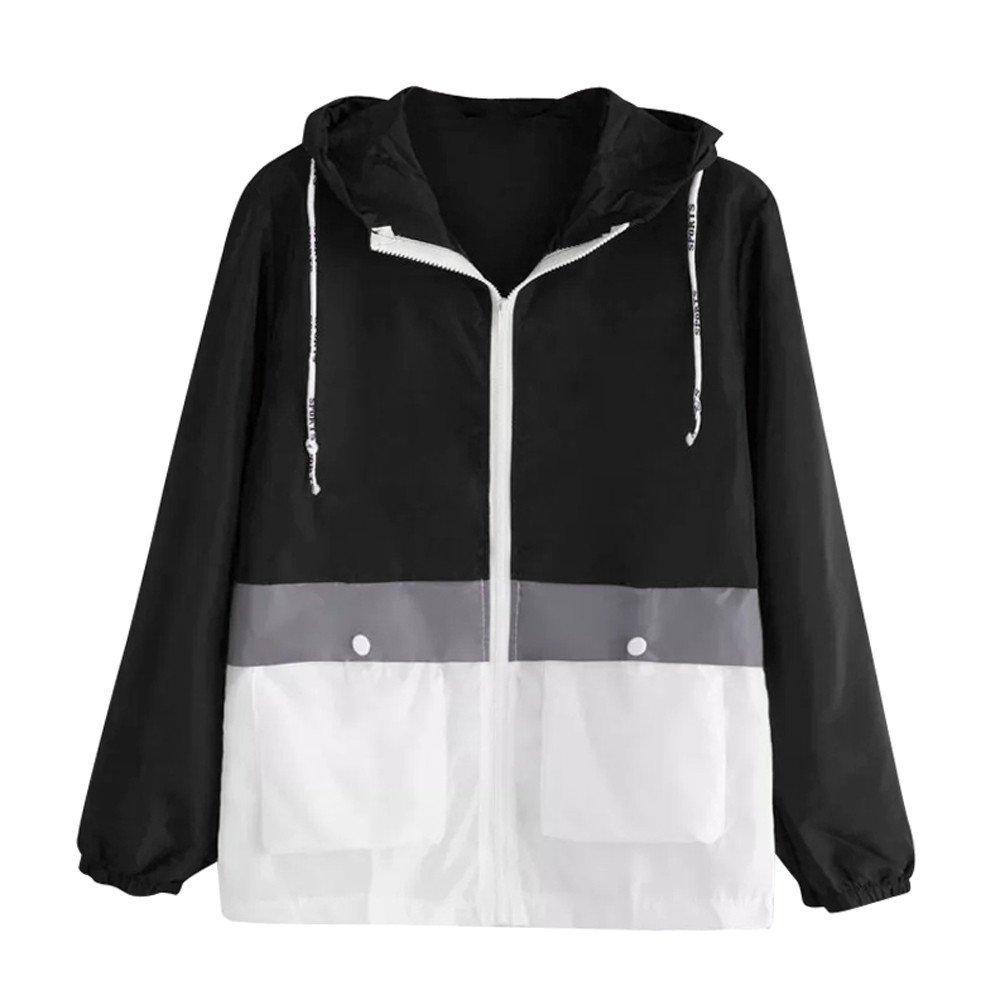 Coat For Women-Clearance Sale, Farjing Long Sleeve Patchwork Coat Thin Skinsuits Hooded Zipper Pockets Sport Coat(M,Black)
