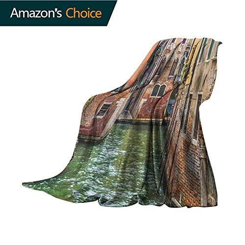Venice Weighted Blanket,Italian City on Water Historical Landmark Famous Streets Houses Gondolas Europe Microfiber All Season Blanket for Bed or Couch Multicolor,50