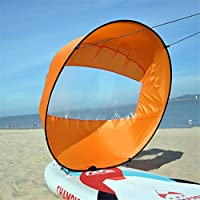 Mexidi 42 inches Foldable Kayak Downwind Kit,Paddle Board Sail Sup Paddle Board Instant Popup&Easy Setup & Deploys Quickly,Wind Sail, Kayak Canoe Accessories, for Kayak Boat Sailboat Canoe (Orange)