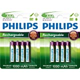 8 x PHILIPS RECHARGEABLE 1000mAh AAA HR03 1.2V BATTERIES