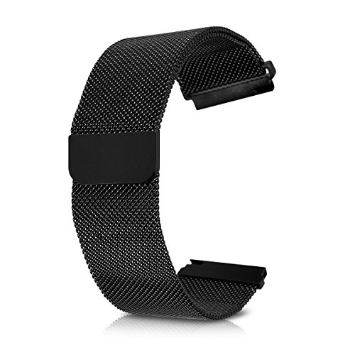 kwmobile Watches straps for Samsung Gear S3 Classic/Frontier - Smartwatch replacement watchband of stainless steel milanese black - Watch strap with magnet lock by kwmobile