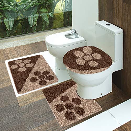 Tapete Polipropileno Van Gogh Belle Jogo De 3 Peças Para Banheiro Jolitex Chocolate/sizal