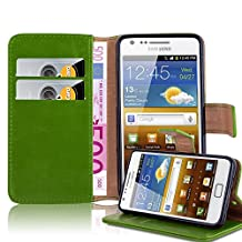 Cadorabo – Luxury Book Style Wallet Design Case for Samsung Galaxy S2 (i9100) with 2 Card Slots and Stand Function - Etui Case Cover Protection Pouch in GRASS-GREEN