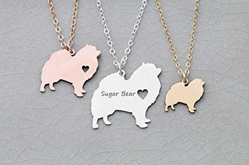 - Pomeranian Dog Necklace - IBD - Pompom - Personalize with Name or Date - Choose Chain Length - Pendant Size Options - 935 Sterling Silver 14K Rose Gold Filled Charm - Ships in 1 Business Day