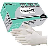 Mediflex Flexi Powder Free Latex Gloves (100/Box) - 245mm Cuff Length, 4mil Thickness, Micro Textured Fingertips, Non Sterile, Natural Rubber (S)