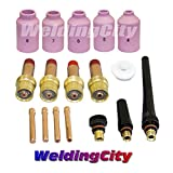 WeldingCity TIG Welding Accessory Kit Cup-Collet-Gas Lens-Gasket-Back Cap 0.040''-1/16''-3/32''-1/8'' for Torch 17, 18 & 26 T6