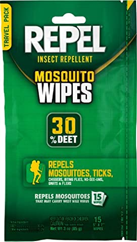 Repel 94100 Sportsmen 30-Percent Deet Mosquito Repellent Wipes, 15 Count (Mosquito Repellent Camping)