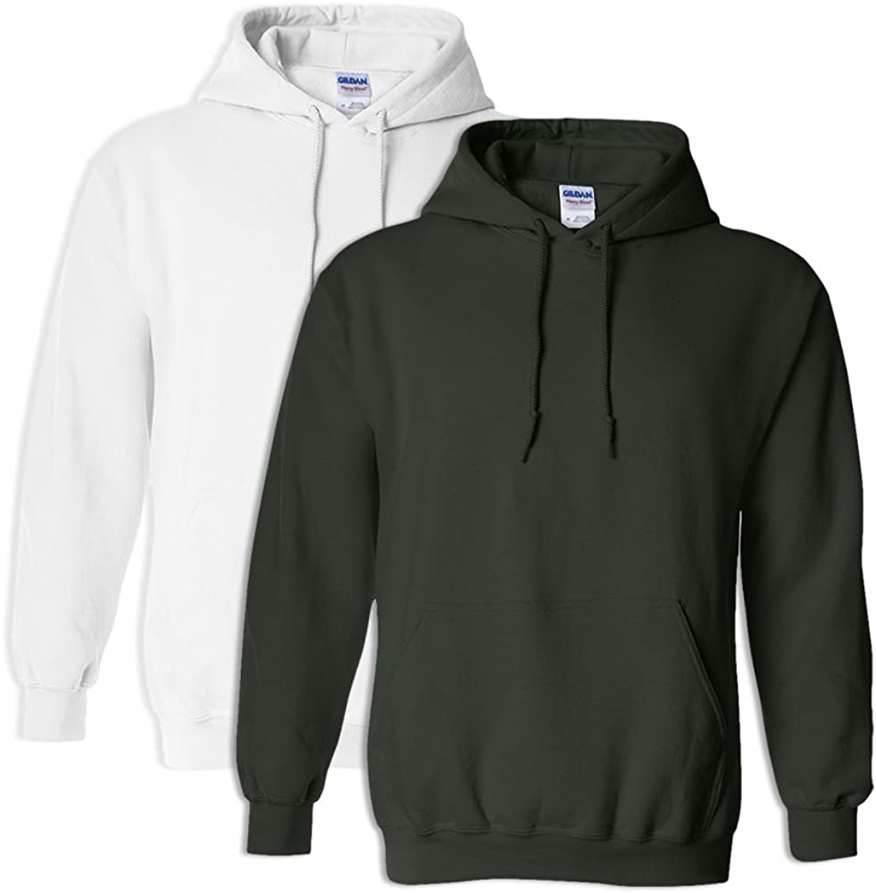 1 Forest Green Gildan G18500 Heavy Blend Adult Hooded Sweatshirt S 1 White