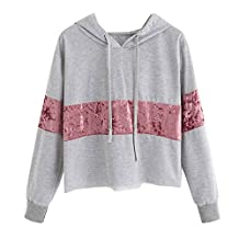 HOT SALE!Napoo Women Velvet Patchwork Short Sweatshirt Hooded Pullover Blouse (S, Gray)
