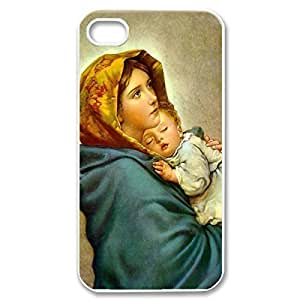 Hard Shell Custom Case- Virgin Mary Christian and Child Baby Jesus Protective PC Case for iPhone 4 iPhone 4s (White 020331)