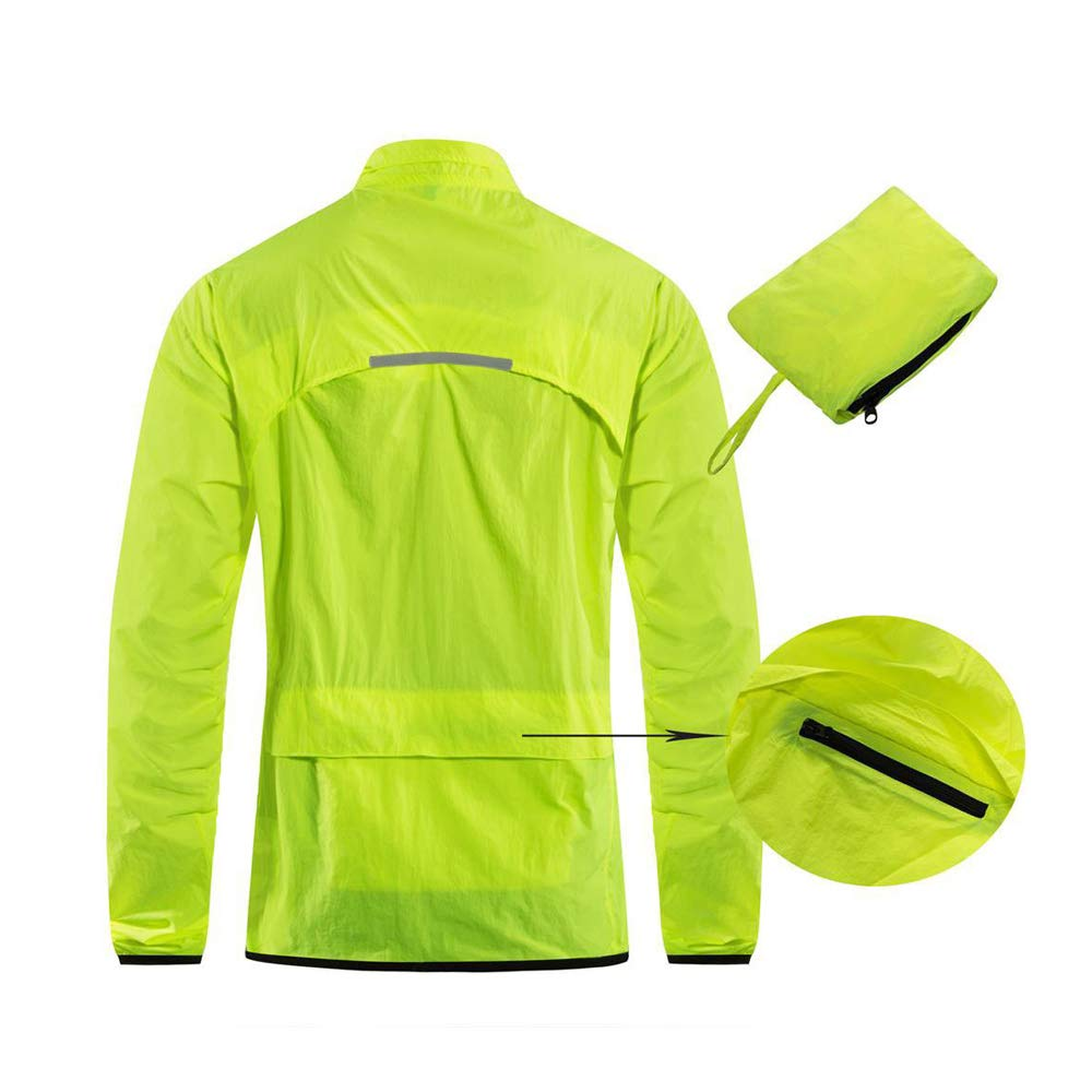 Water Repellent Packable Safe Fluo Green Ultra Lightweight Cycling Jacket Sports Anti UV Breathable