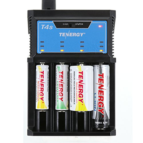Tenergy T4s Intelligent Universal Charger, 4-Slot Battery Charger for Li-ion, LiFePO4, NiMH and NiCd Rechargeable Batteries,18650, 14500, 26650, AA AAA C Cell Battery Charger with Car Adapter