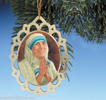 Mother Teresa Brass Medal 3 1/2 Inches High Christmas Ornament with Holy Prayer -