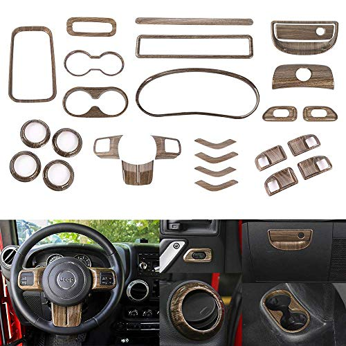 Interior Wood Dash Kit - RT-TCZ Wood Grain Interior Decoration Trim Kit,Trim for Jeep Wrangler JK JKU 2011-2017 (27PCS)
