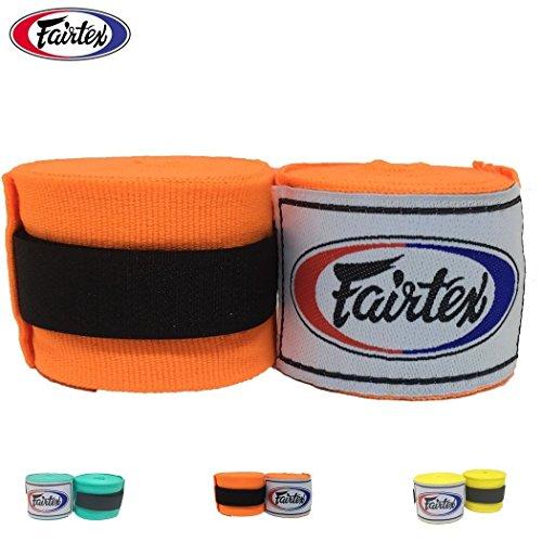 "Fairtex Elastic Cotton Handwraps HW2-120 and 180""- Full Length Hand Wraps. Many Colors (Orange, 120 inches)"