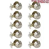 10 Pack Probrico Interior Bedroom Single Cylinder Deadbolt One Keyway Keyed Alike Same Key Safety Bolt Door Lock Lockset in Satin Nickel-Single Deadbolt-101