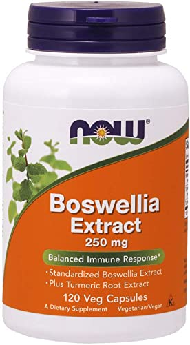NOW Supplements, Boswellia Extract 250 mg, plus Turmeric Root Extract, 120 Veg Capsules