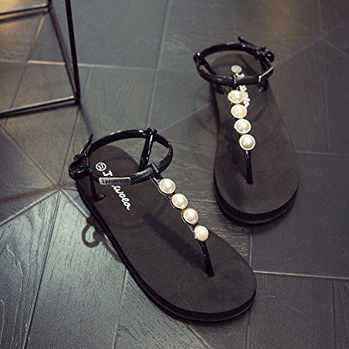 Cybling Vrouwen Platte Sandalen String Enkelband Zomer Kralen Strand T-strap Schoenen Zachte Zool Zwart