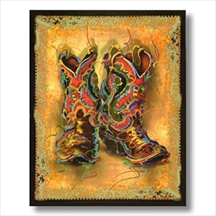 Western Cowboy Boots Rodeo Contemporary Wall Picture Art Print