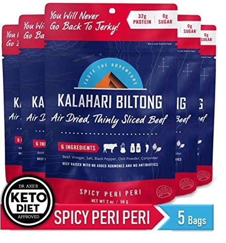 Spicy Peri Peri Kalahari Biltong, Air-Dried Thinly Sliced Beef, 2oz (Pack of 5), Sugar Free, Gluten Free, Keto & Paleo, High Protein Snack