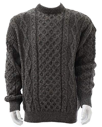 (Kerry Woollen Mills Aran Sweater 100% Wool Derby Tweed Unisex Small, Green/Brown)