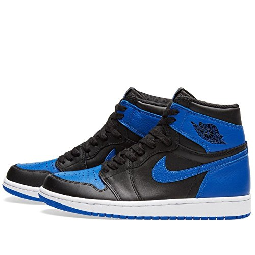 Nike Heren Air Jordan 1 Mid Basketbalschoen Zwart / Royal-wit