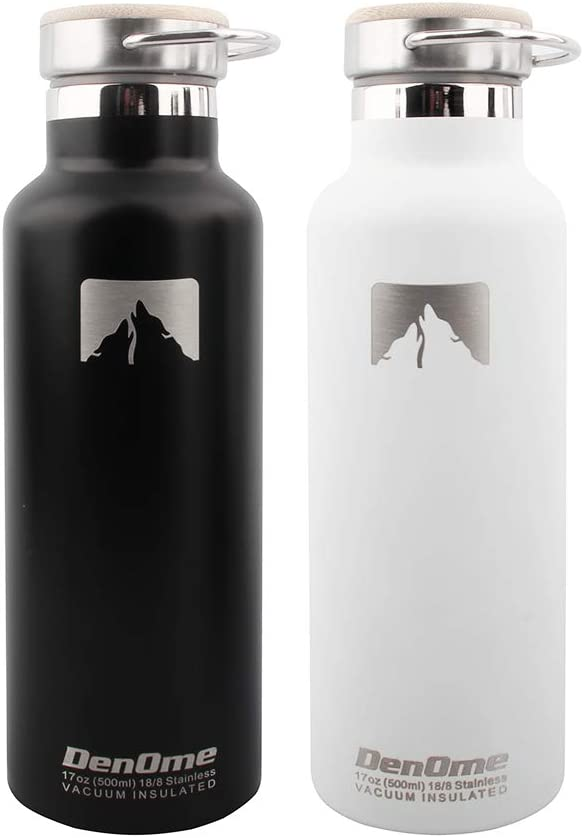 BPA Free Straw Lid Denome Double Wall Vacuum Insulated Water Bottle Leak Proof Stainless Steel Sports Water Bottle with Bamboo Cap