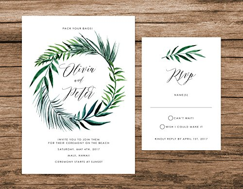 Tropical Leaves Wedding Invitation, Palm Leaves Wedding Invitation, Destination Wedding Invite by Alexa Nelson Prints