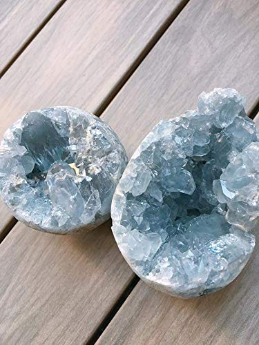 Gold Happy 2 piece beautiful celestine geode egg baby blue celestine geode from madagascar by Gold Happy