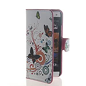 KCASE Floral Butterfly Flip Leather Wallet Card Holder Pouch Stand Case Cover For HTC One Mini M4