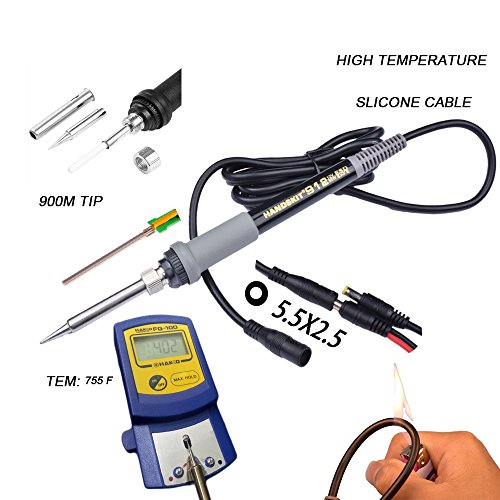 ... Soldering Iron Kit, 35W Adjustable Temperature Welding Tool, 5pcs Solder Soldering Iron Tip, with Car Battery Charger, AC/DC Adapter 110-240V/ 12V 3A, ...